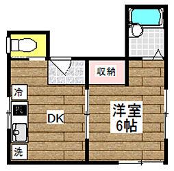 東京都新宿区弁天町の賃貸アパートの間取り