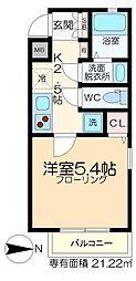 深川YKマンション 3階1Kの間取り