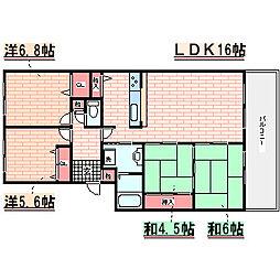 兵庫県神戸市西区糀台2丁目の賃貸マンションの間取り