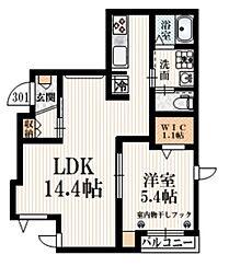 小田急小田原線 豪徳寺駅 徒歩4分の賃貸マンション 3階1LDKの間取り