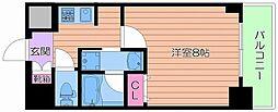 レジュールアッシュ大阪城EAST 6階1Kの間取り