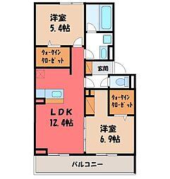 JR東北本線 宇都宮駅 バス21分 卸団地西下車 徒歩3分の賃貸アパート 1階2LDKの間取り