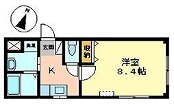 JR高崎線 北本駅 徒歩5分の賃貸アパート 1階1Kの間取り