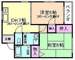 大阪府豊中市服部西町3丁目の賃貸マンションの間取り