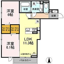 JR中央線 国立駅 徒歩11分の賃貸アパート 2階2LDKの間取り