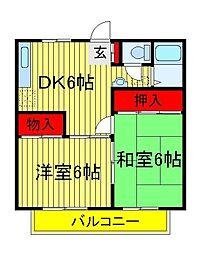 みどりハイツ(篠籠田)[2階]の間取り