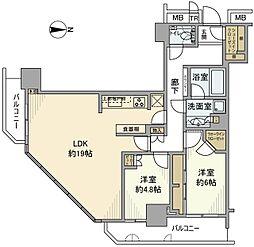 パークハウス清澄白河タワー 7階2LDKの間取り