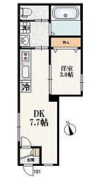 オースター 響II 1階1DKの間取り
