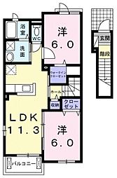 メモリーズ エステートピアII 2階2LDKの間取り