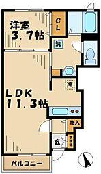 神奈川県大和市深見西4丁目の賃貸アパートの間取り