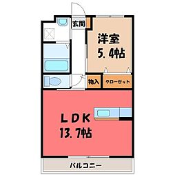 Y&Mガーネット 4階1LDKの間取り