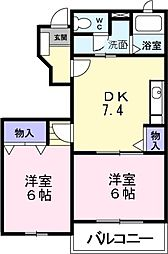 大阪府堺市東区日置荘北町2丁の賃貸アパートの間取り