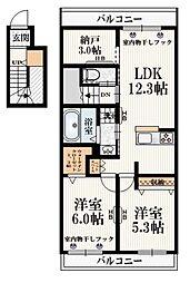 (仮称)福島町3丁目メゾン 2階2SLDKの間取り