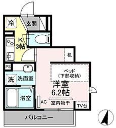 ライズ生田 2階1Kの間取り