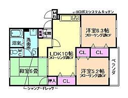 大阪府箕面市桜3丁目の賃貸マンションの間取り