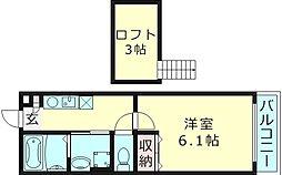 高殿TKハウス 2階1Kの間取り