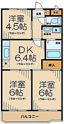 エクストール武蔵野台 4階3DKの間取り