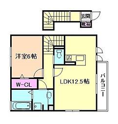 大阪府豊中市走井1丁目の賃貸アパートの間取り
