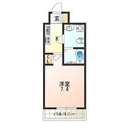 南海線 天下茶屋駅 徒歩4分の賃貸マンション 2階1Kの間取り