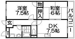 大阪府枚方市茄子作4丁目の賃貸マンションの間取り