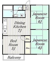 神奈川県厚木市戸室3丁目の賃貸アパートの間取り