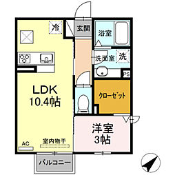 JR東海道本線 豊橋駅 バス21分 高師原口下車 徒歩3分の賃貸アパート 1階1LDKの間取り