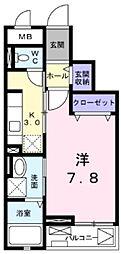 西武新宿線 狭山市駅 徒歩7分の賃貸マンション 3階1Kの間取り