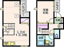 JR横須賀線 西大井駅 徒歩8分の賃貸マンション 2階1LDKの間取り