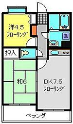 フェリックス新川崎 1階2DKの間取り