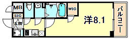 神戸高速東西線 高速神戸駅 徒歩1分の賃貸マンション 12階1Kの間取り