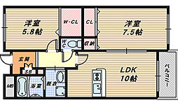 大阪府和泉市観音寺町の賃貸マンションの間取り