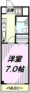 間取り,1K,面積20.07m2,賃料4.9万円,JR中央線 国立駅 徒歩13分,JR南武線 西国立駅 徒歩20分,東京都国立市北2丁目