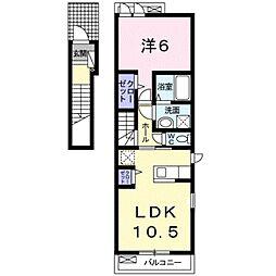 ベルカーサ 2階1LDKの間取り