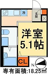 JR武蔵野線 新松戸駅 徒歩12分の賃貸アパート 2階1Kの間取り