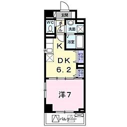 サンフィールド III 3階1DKの間取り