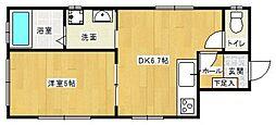 西鉄天神大牟田線 大橋駅 徒歩7分の賃貸マンション 1階1LDKの間取り