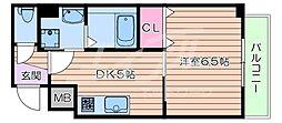 阪急京都本線 相川駅 徒歩5分の賃貸マンション 2階1DKの間取り