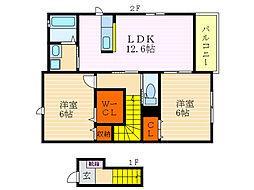 滋賀県長浜市山階町の賃貸アパートの間取り