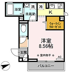 (仮)D-room本木南町B 2階1Kの間取り