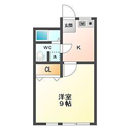 愛知県豊橋市花田一番町の賃貸アパートの間取り