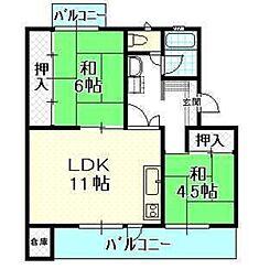 平川団地 11棟[403号室]の間取り