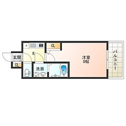 JR大阪環状線 福島駅 徒歩4分の賃貸マンション 8階1Kの間取り