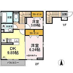東武伊勢崎線 竹ノ塚駅 徒歩23分の賃貸アパート 2階2LDKの間取り