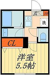 JR京浜東北・根岸線 蕨駅 徒歩9分の賃貸マンション 2階1Kの間取り