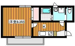 東京メトロ有楽町線 平和台駅 徒歩5分の賃貸マンション 2階1Kの間取り
