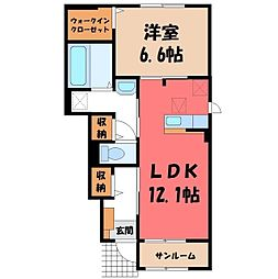 ラディーナ A 1階1LDKの間取り