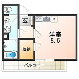阪神本線 出屋敷駅 徒歩7分の賃貸アパート 2階ワンルームの間取り