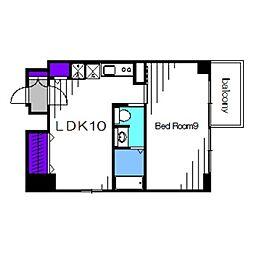 南海高野線 堺東駅 徒歩7分の賃貸マンション 9階1LDKの間取り