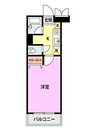 ベロウ桜城 1階1Kの間取り