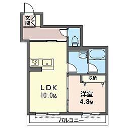 都筑区仲町台4丁目シャーメゾン (仮) 2階1LDKの間取り